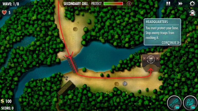 """Kokoda ट्रैक अभियान स्तर का एक नक्शा, तीर जो दुश्मन इकाइयों को दिखाते हुए तीर के आधार पर आपको वीडियो गेम """"iBomber Defence Pacific"""" में बचाव करना चाहिए।"""