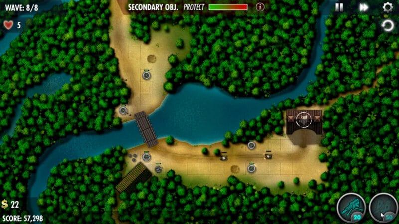 """वीडियो गेम """"iBomber Defence Pacific"""" के कोकोदा ट्रैक अभियान स्तर में लहर 8 तक पहुंचने पर सुझाए गए बुर्ज प्लेसमेंट का स्क्रीनशॉट।"""
