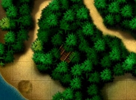 "Screenshot of the Hidden Target building in the Battle of Savo Island campaign level of the video game ""iBomber Defense Pacific""."
